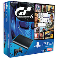 PlayStation 3 (500G) Super Slim+GTA V+Gran Turismo 6