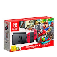 Nintendo Switch (Red) + Super Mario Odyssey