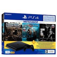 PlayStation 4 (РСТ) Slim(1TB)+Жизнь После+God of War+Одни из нас