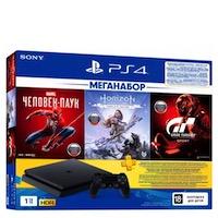 PlayStation 4 (РСТ) Slim (1TB)+ Человек Паук+Horizon Zero Dawn Complete Ed.+Gran Turismo Sport