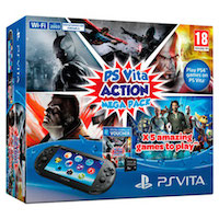 PS Vita Slim (2008) Wi-Fi Black+PSN код активации Action MegaPack+PS Vita Memory Card (РСТ) 8G