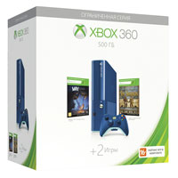 XBox 360E 500G (Slim) Blue+Toy Soldiers+ Max: the Curse of Broth